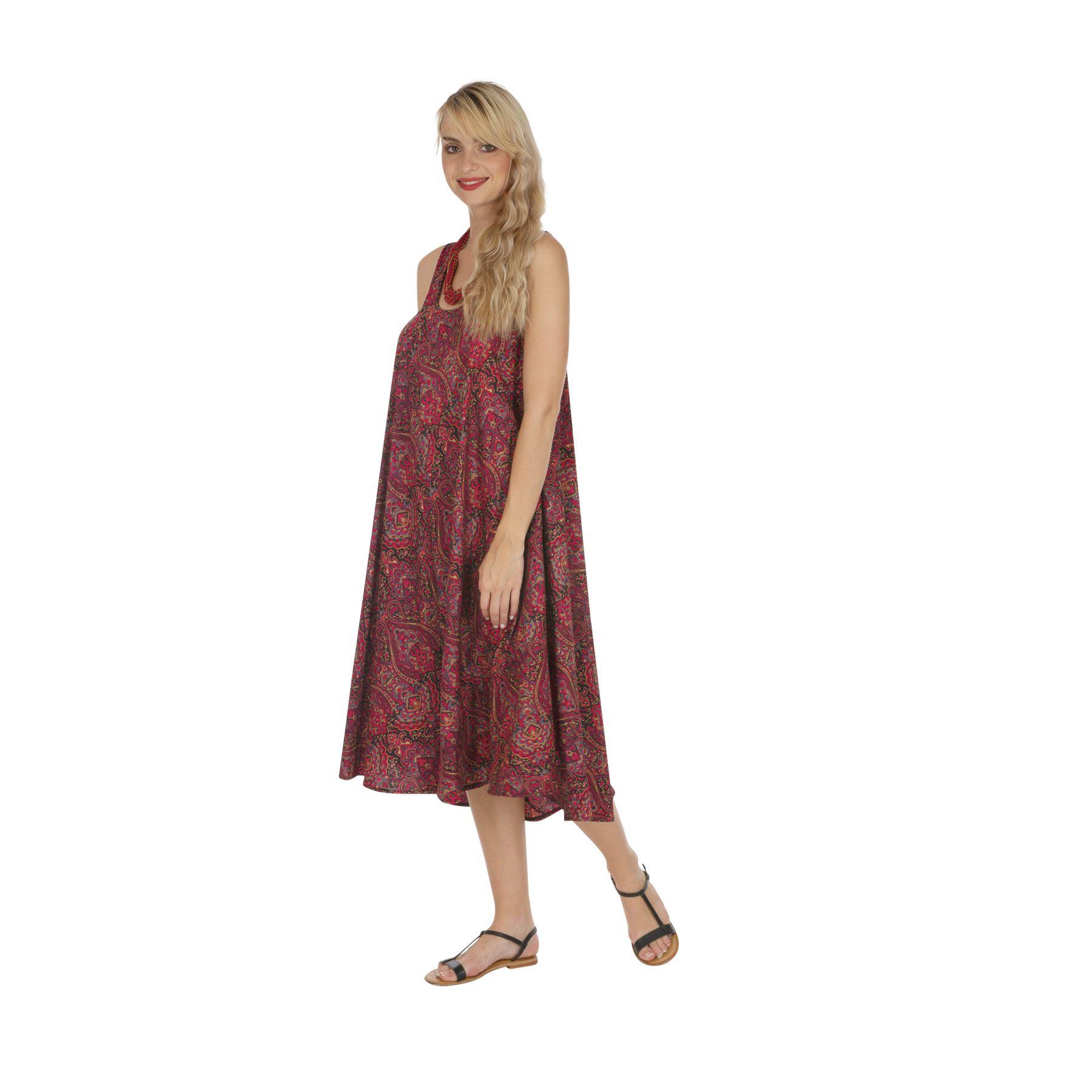 Robe longue été femme à bretelles style bohème Kirakirou