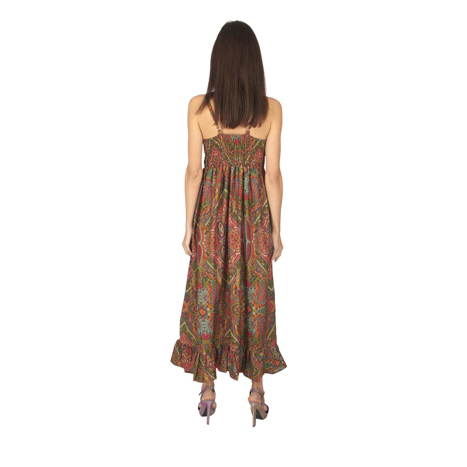 Robe longue été femme fluide fines bretelles réglables Munda