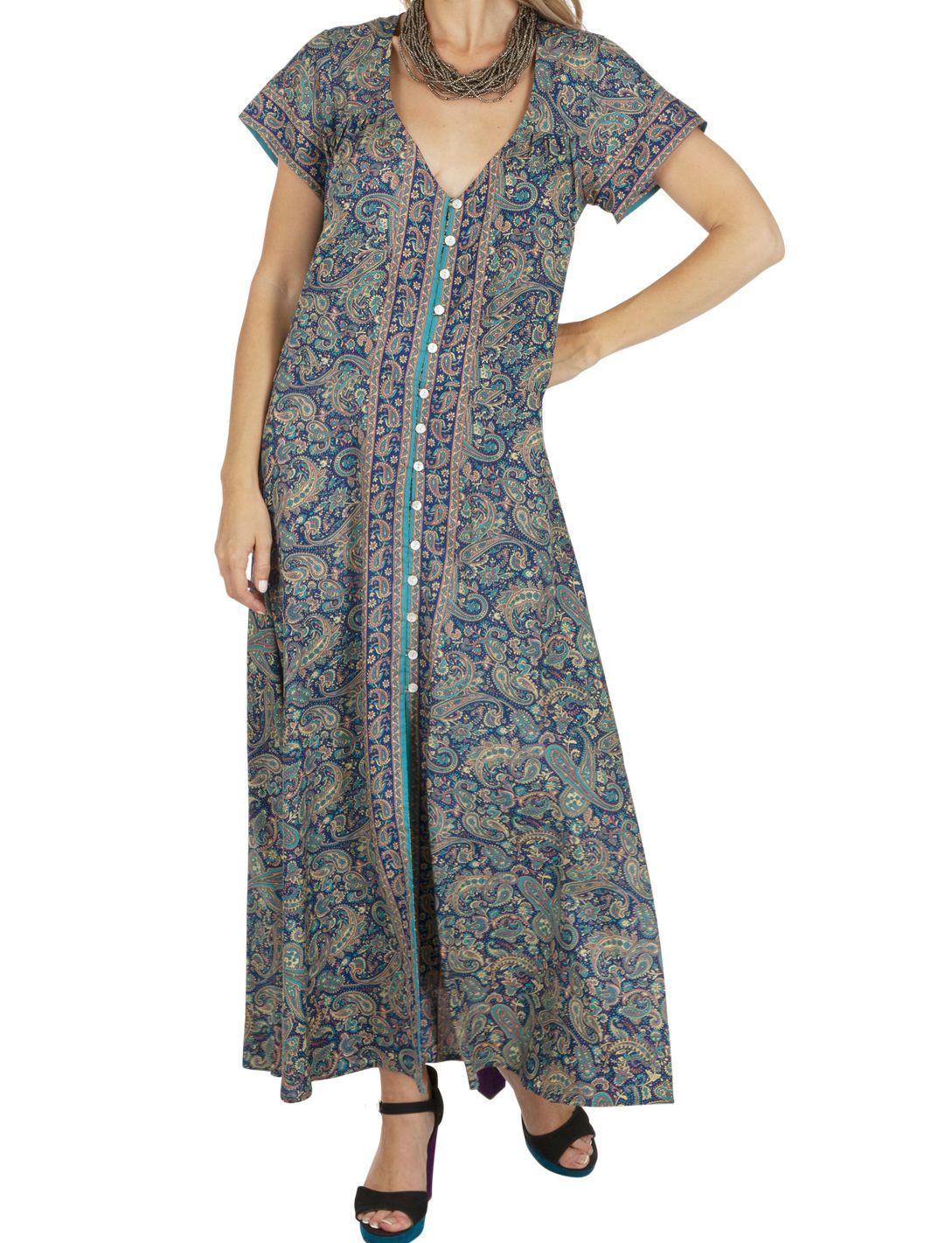Robe Longue Ete Femme Bleue Ample Et Boheme Ethna