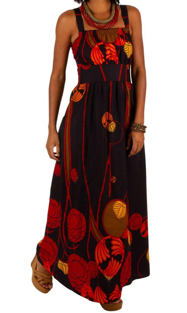 Robe longue ethnique à col carré et coupe empire Zlata 307058