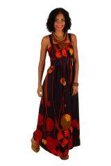 Robe longue ethnique à col carré et coupe empire Zlata 307059