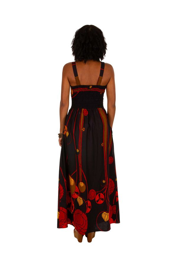 Robe longue ethnique à col carré et coupe empire Zlata 307060