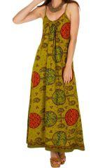 Robe longue ethnique à col rond et fines bretelles Maddie 313333
