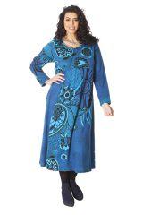 Robe longue Ethnique Bleue d'Inde pour femme ronde Papaye 286207