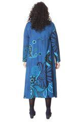 Robe longue Ethnique Bleue d'Inde pour femme ronde Papaye 286208