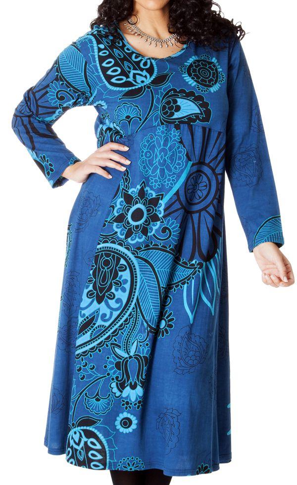 Robe longue Ethnique Bleue d'Inde pour femme ronde Papaye 286765