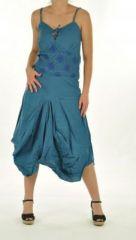Robe longue ethnique chagha bleu 244413