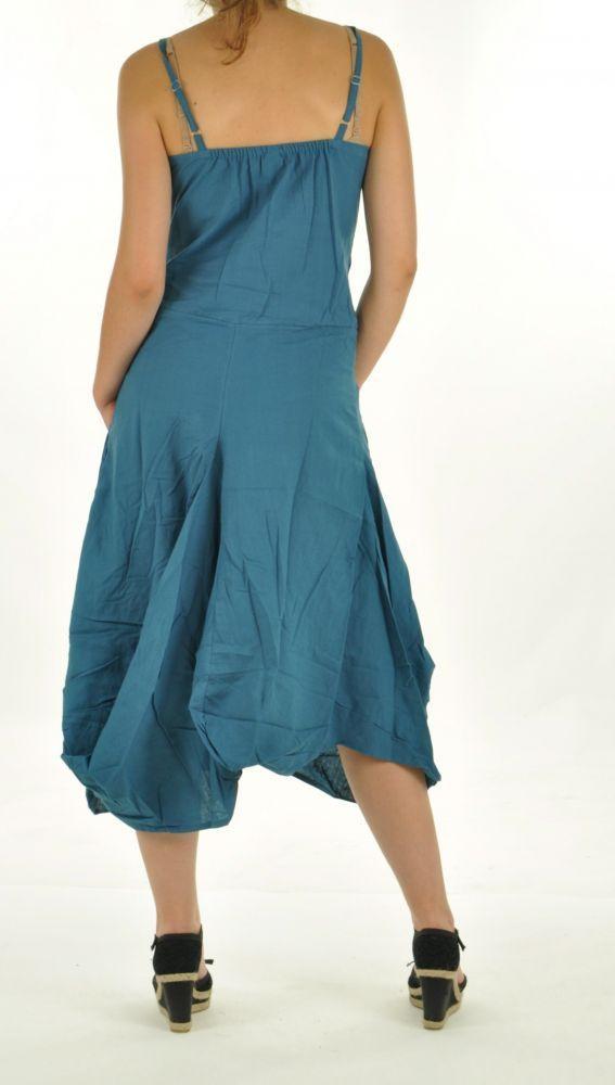 Robe longue ethnique chagha bleu 254593