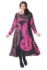 Robe longue Ethnique d'Inde pour femme ronde Papaye Noire et Rose 286205