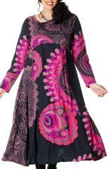 Robe longue Ethnique d'Inde pour femme ronde Papaye Noire et Rose 286766