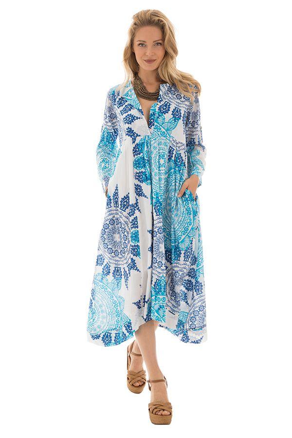 taille 40 d45af ca69c Robe longue ethnique en voile de coton motifs mandala Tania