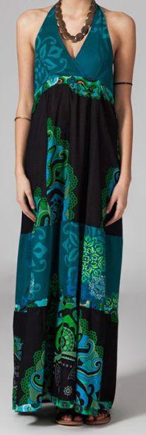 Robe longue ethnique et originale - noire et bleue - Limika 271878
