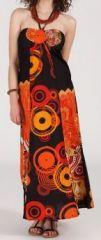 Robe longue ethnique et originale - noire et orange - Fuega 271886