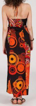 Robe longue ethnique et originale - noire et orange - Fuega 271887