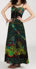 Robe longue ethnique et originale - noire et verte - Ermina 271896