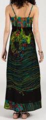 Robe longue ethnique et originale - noire et verte - Ermina 271897