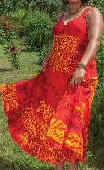 Robe longue Ethnique féminine et à Volants Steffy Rouge 284442