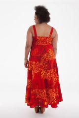 Robe longue Ethnique féminine et à Volants Steffy Rouge 284443