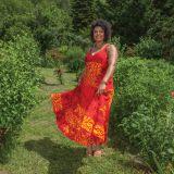 Robe longue Ethnique féminine et à Volants Steffy Rouge 284444