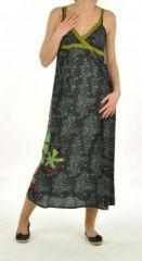 Robe longue ethnique imprimé tribes noir 244176