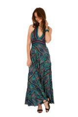 Robe longue ethnique imprimée aux couleurs estivales Sandy 310689