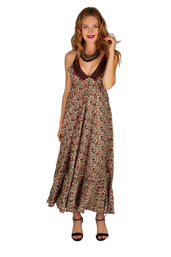 Robe longue ethnique ultra tendance et féminine Flora 311479