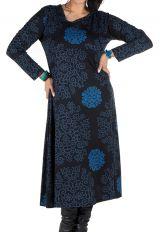Robe longue évasée à manche longue Bleue macramé 300490