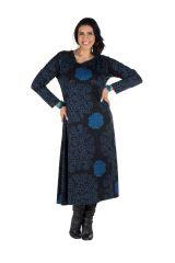 Robe longue évasée à manche longue Bleue macramé 300491