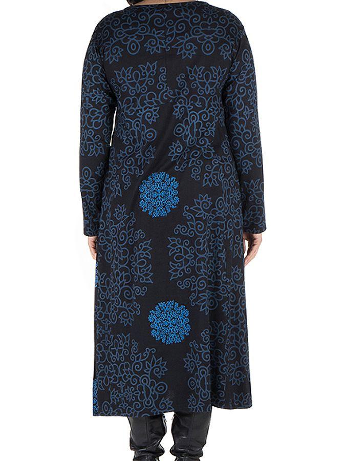 Robe longue évasée à manche longue Bleue macramé 300492