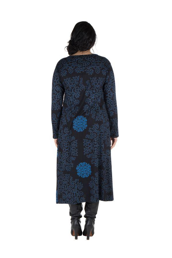Robe longue évasée à manche longue Bleue macramé 300493