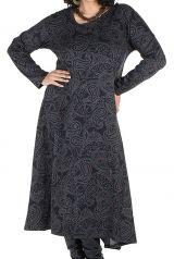 Robe longue évasée à manche longue pour les femmes aux courbes généreuse 300462