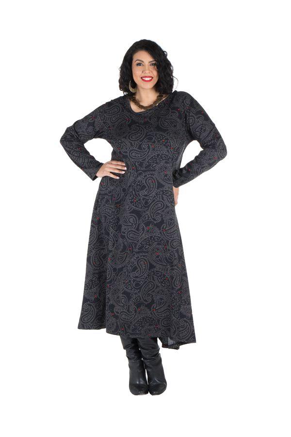 Robe longue évasée à manche longue pour les femmes aux courbes généreuse 300463