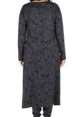 Robe longue évasée à manche longue pour les femmes aux courbes généreuse 300464