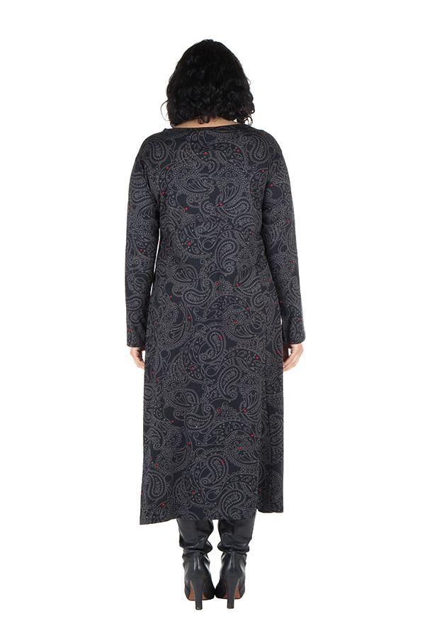 Robe longue évasée à manche longue pour les femmes aux courbes généreuse 300469