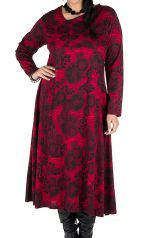Robe longue évasée à manche longue rouge Electrika 300478