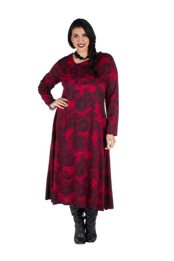 Robe longue évasée à manche longue rouge Electrika 300479