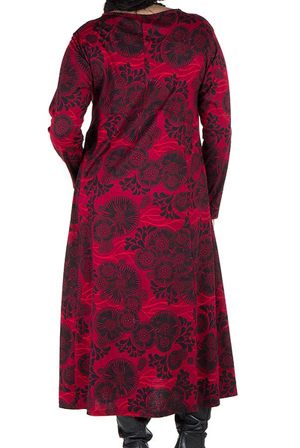 Robe longue évasée à manche longue rouge Electrika 300480