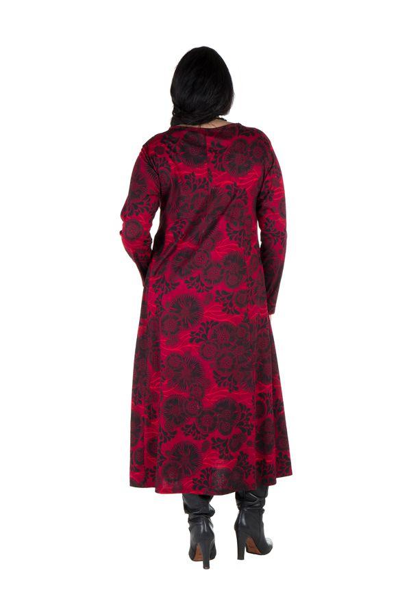 Robe longue évasée à manche longue rouge Electrika 300481