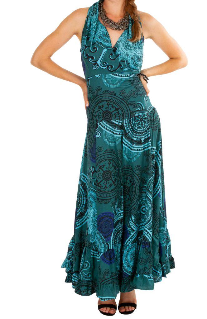 Robe longue évasée et imprimée à la taille élastiquée Irina