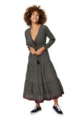 Robe longue évasée femme effet gypsie à volants Isabela