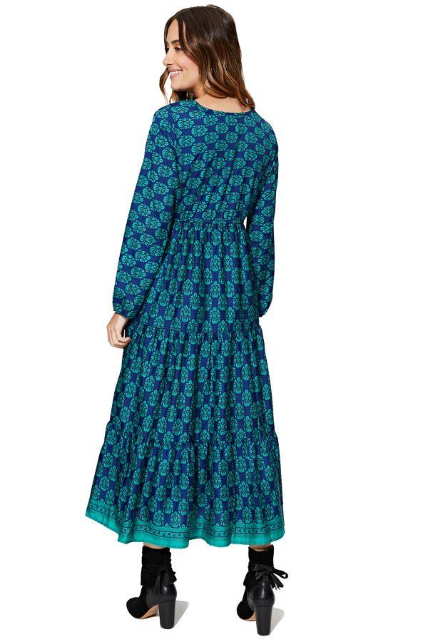 Robe longue évasée femme effet gypsie bleue à volants Emilee
