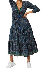 Robe longue évasée femme effet gypsie mode bohème Alyson