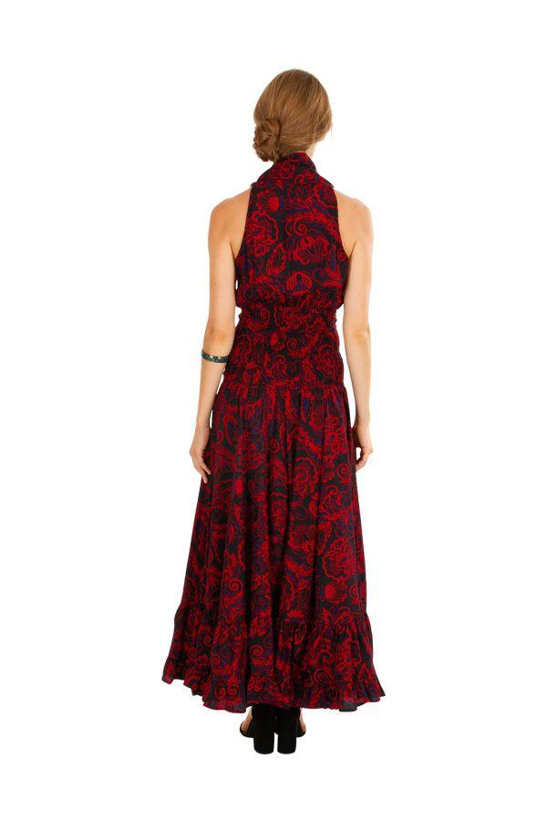 Robe longue évasée noire et rouge cintrée à la taille Iléana
