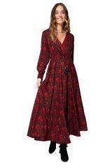 Robe longue évasée pour femme motifs fleuris rouge Rivka