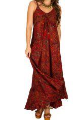 Robe longue fantaisie à fines bretelles et col rond Marie-jeanne 293314