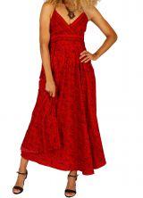 Robe longue féminine à dos nu couleur rouge pas chère Lena
