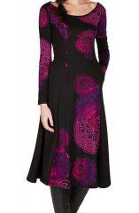 Robe longue féminine à manches longues et imprimés mandalas Paty 299311