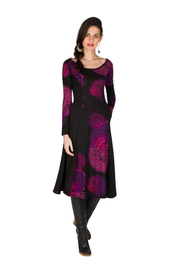 Robe longue féminine à manches longues et imprimés mandalas Paty 299312