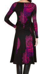Robe longue féminine à manches longues et imprimés mandalas Paty 299313