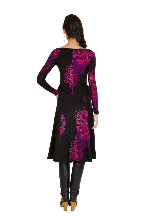 Robe longue féminine à manches longues et imprimés mandalas Paty 299314